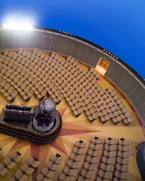 This unusual planetarium view was taken through one of the custom projection ports Spitz installed to the Griffith's specifications. Image courtesy Duro-Design, who created the beautiful cork floor for the theater's renovation.
