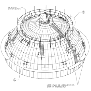 Engineering drawing of a planetarium dome