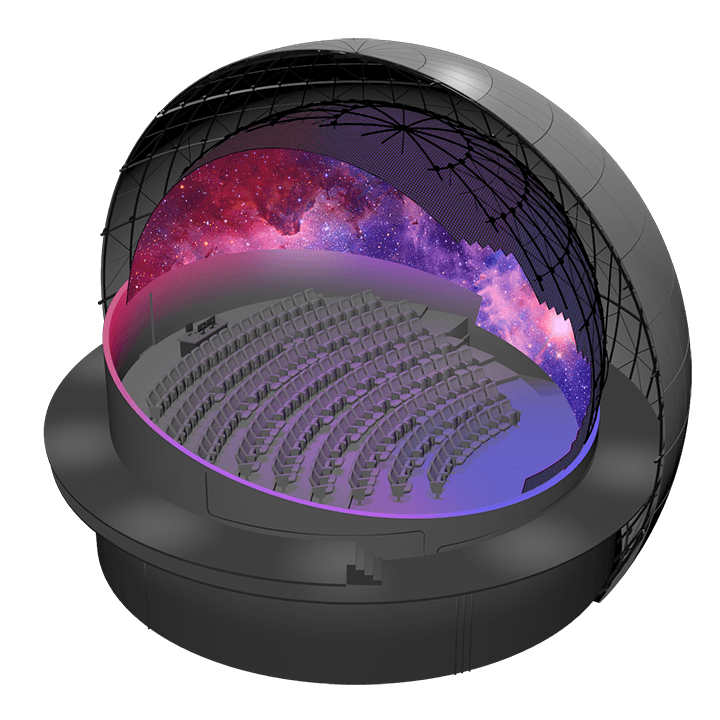 Dome theater illustration with LED dome highlighted